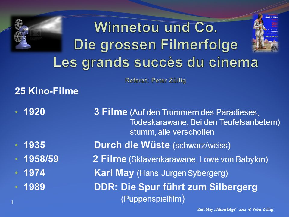 Winnetou und Co. Die grossen Filmerfolge Les grands succès du cinema Referat: Peter Züllig