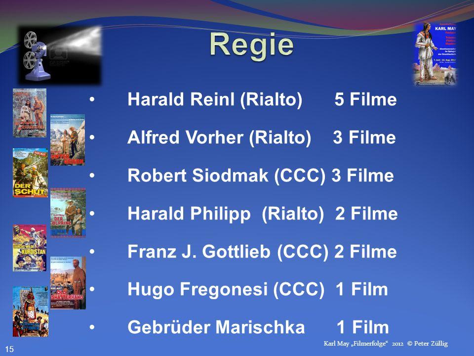 Regie Harald Reinl (Rialto) 5 Filme Alfred Vorher (Rialto) 3 Filme