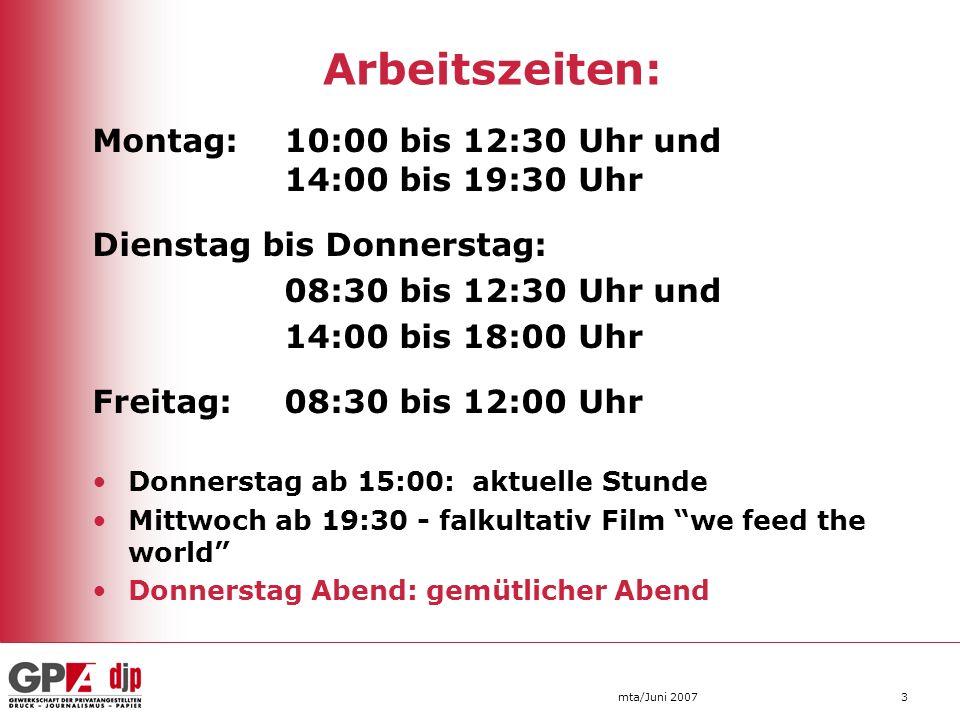 Arbeitszeiten: Dienstag bis Donnerstag: 08:30 bis 12:30 Uhr und