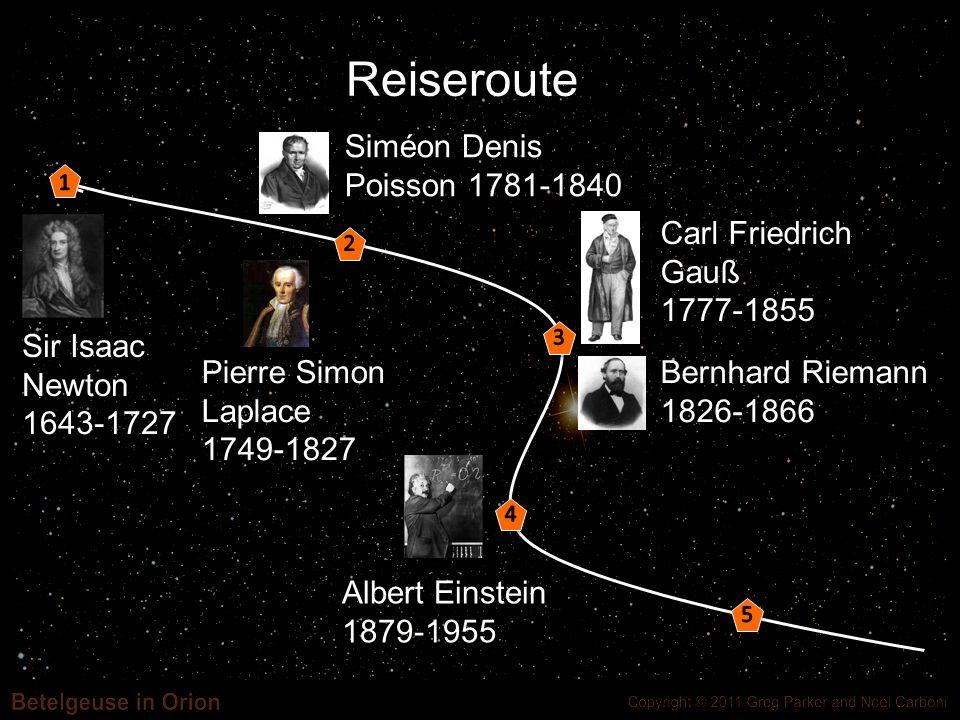 Reiseroute Sir Isaac Newton 1643-1727 Siméon Denis Poisson 1781-1840
