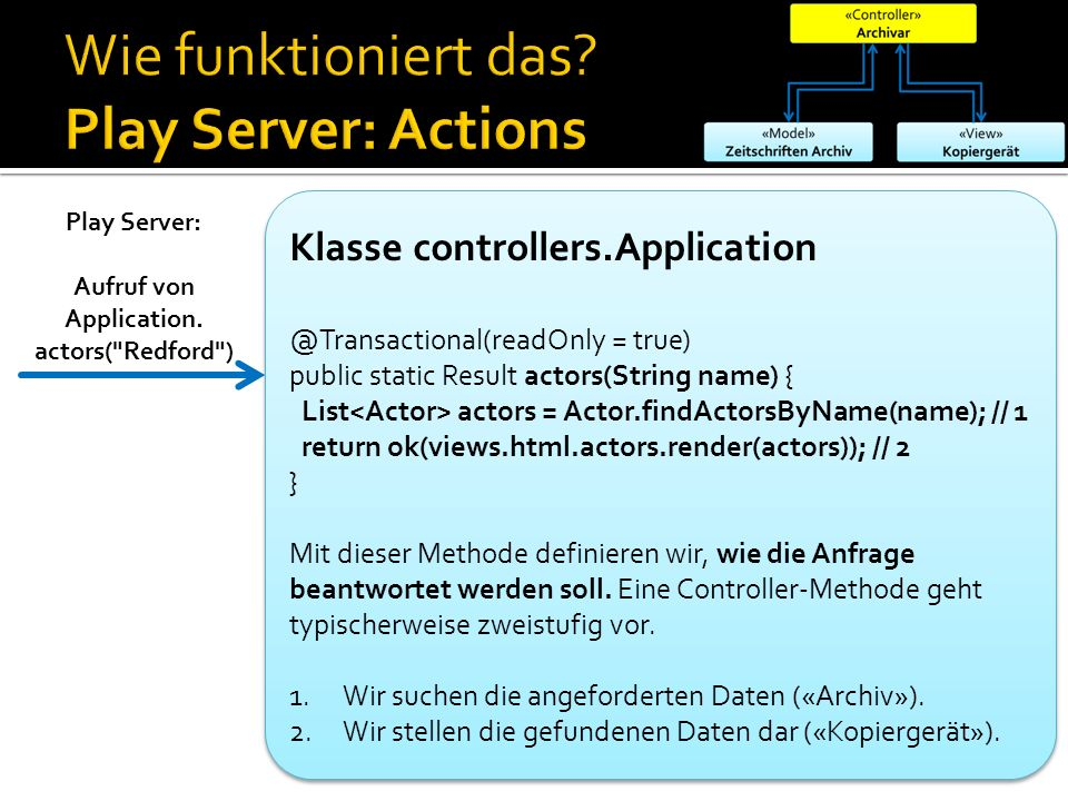 Wie funktioniert das Play Server: Actions