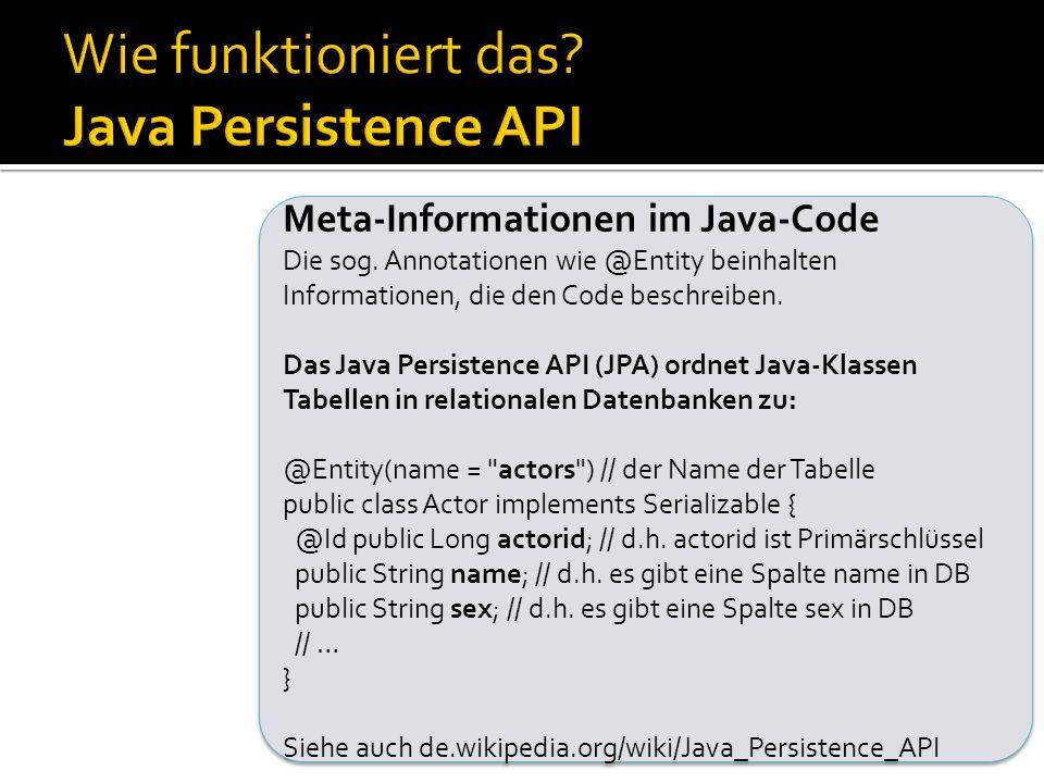 Wie funktioniert das Java Persistence API