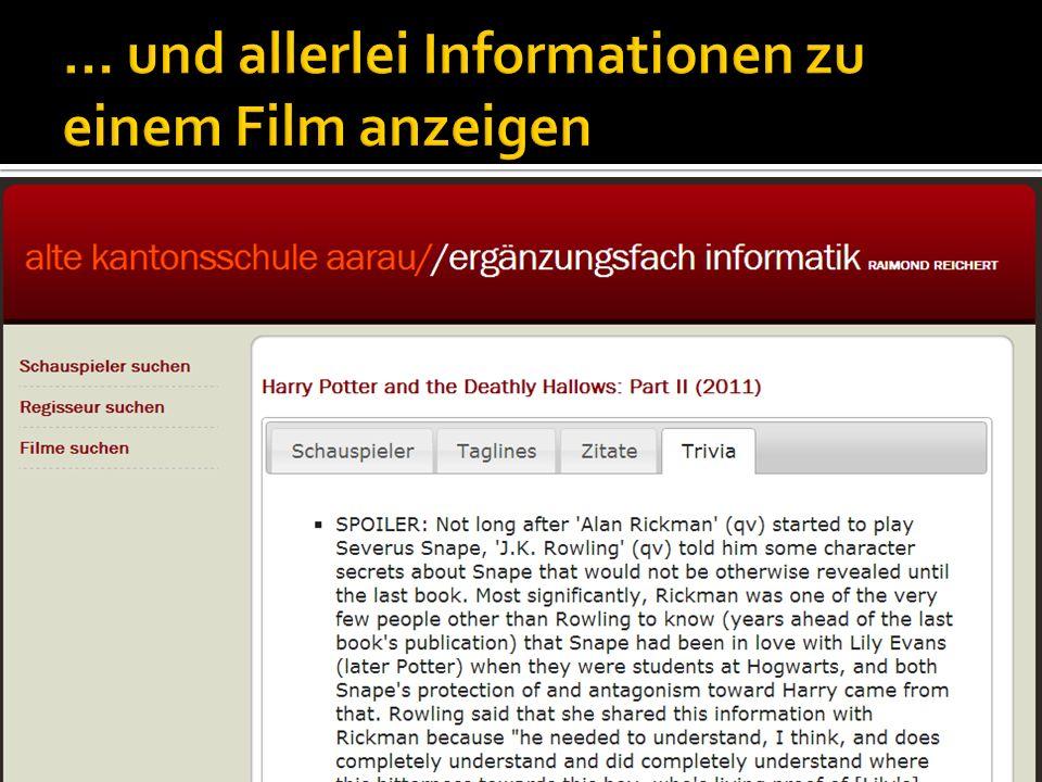 … und allerlei Informationen zu einem Film anzeigen
