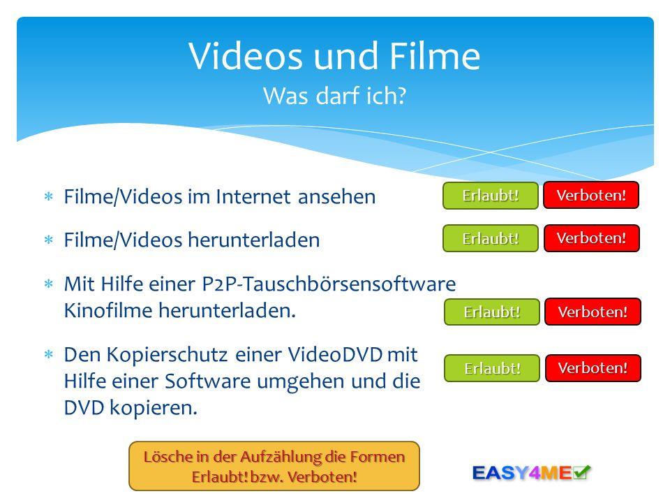 Videos und Filme Was darf ich
