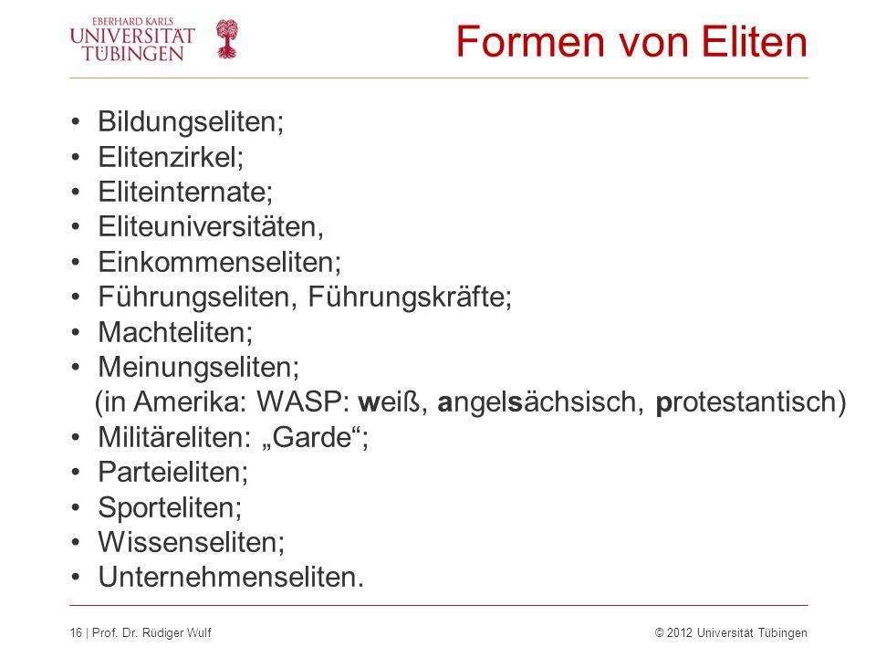 Formen von Eliten Bildungseliten; Elitenzirkel; Eliteinternate;