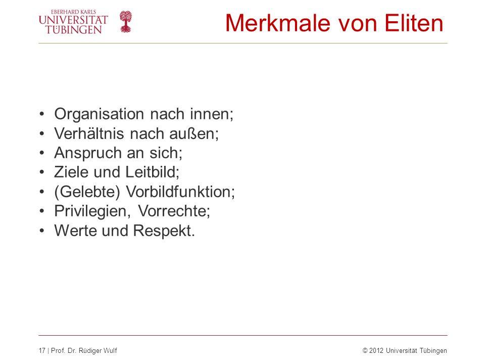 Merkmale von Eliten Organisation nach innen; Verhältnis nach außen;