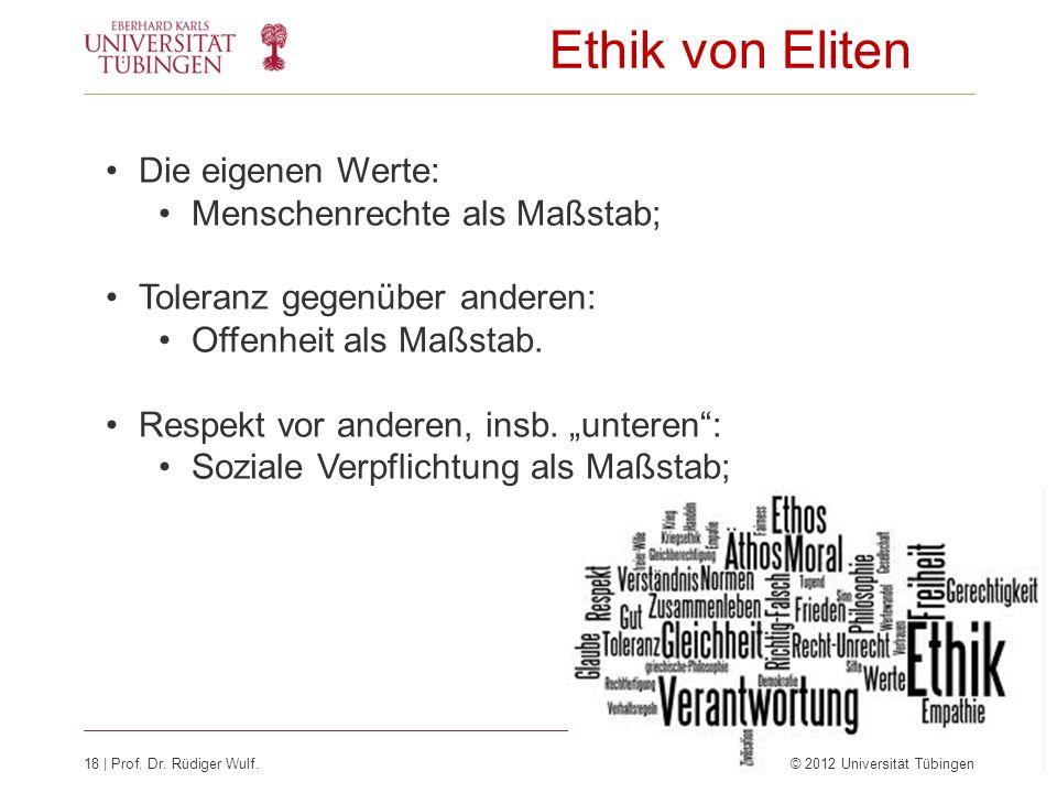Ethik von Eliten Die eigenen Werte: Menschenrechte als Maßstab;