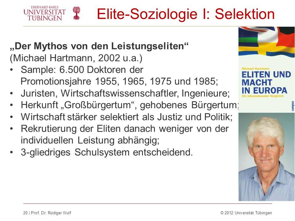Elite-Soziologie I: Selektion