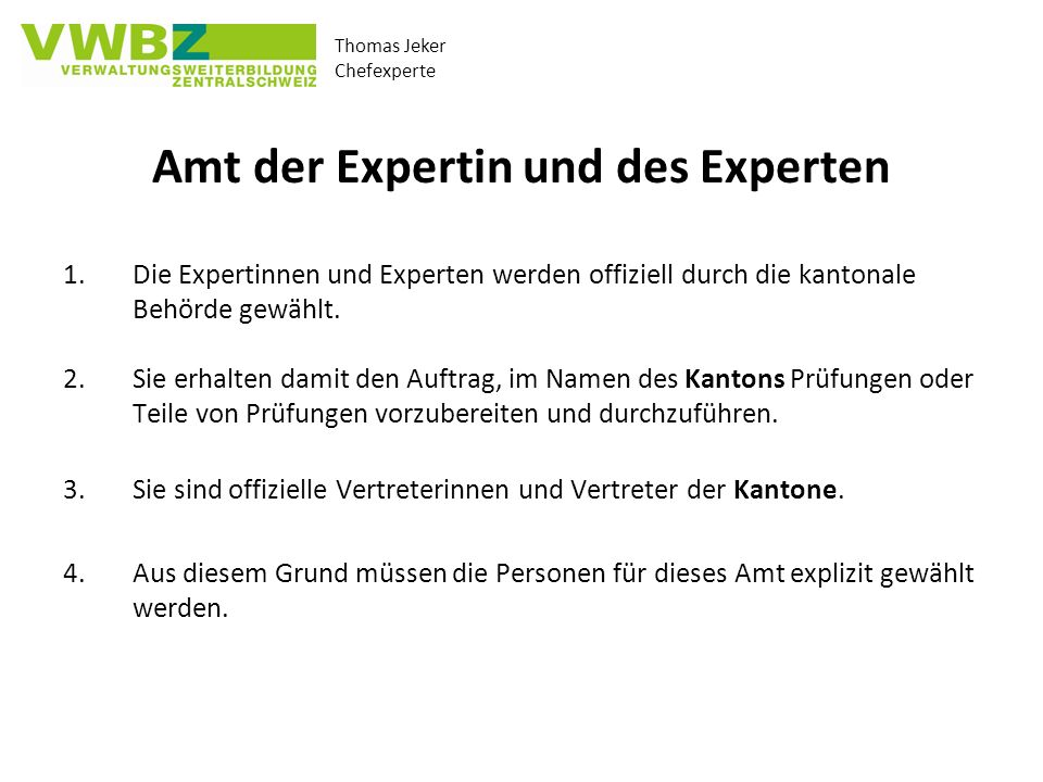 Amt der Expertin und des Experten