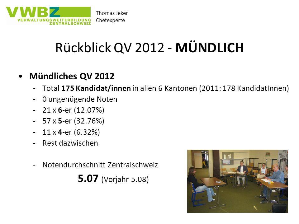 Rückblick QV 2012 - MÜNDLICH