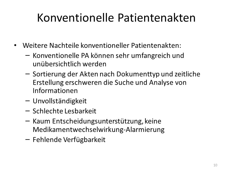 Konventionelle Patientenakten