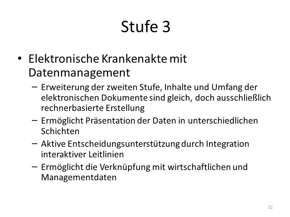 Stufe 3 Elektronische Krankenakte mit Datenmanagement