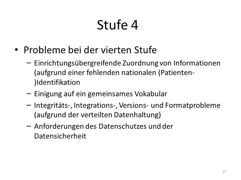 Stufe 4 Probleme bei der vierten Stufe