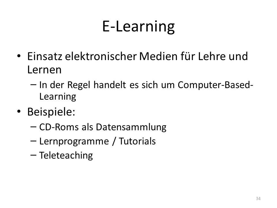 E-Learning Einsatz elektronischer Medien für Lehre und Lernen