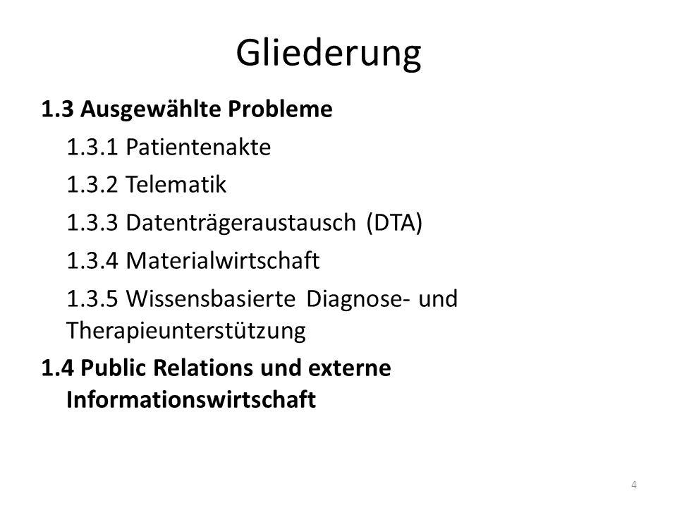 Gliederung 1.3 Ausgewählte Probleme 1.3.1 Patientenakte