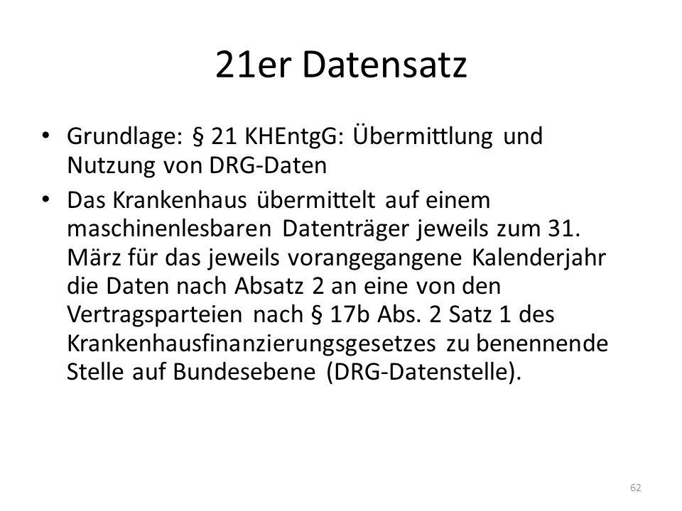 21er Datensatz Grundlage: § 21 KHEntgG: Übermittlung und Nutzung von DRG-Daten.