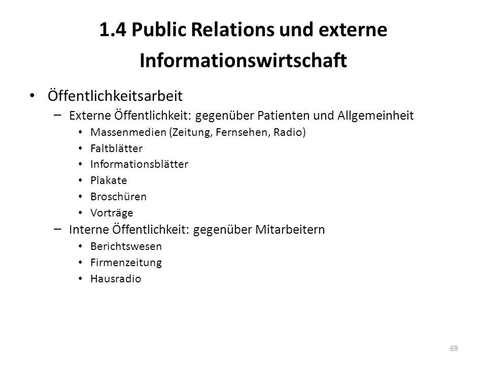 1.4 Public Relations und externe Informationswirtschaft