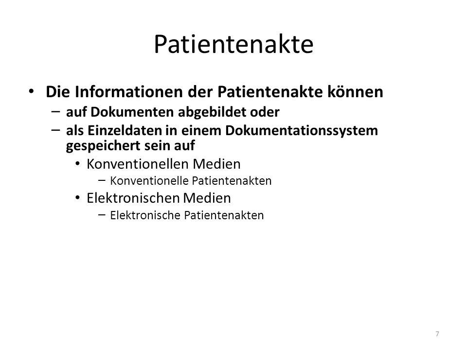 Patientenakte Die Informationen der Patientenakte können