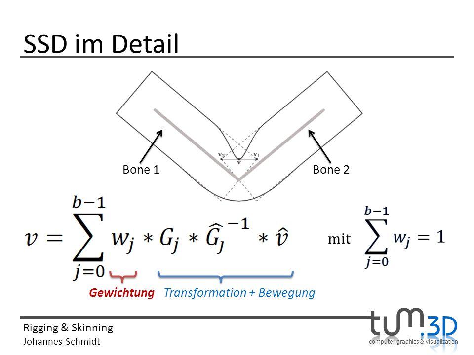 SSD im Detail Bone 1 Bone 2 mit Gewichtung Transformation + Bewegung
