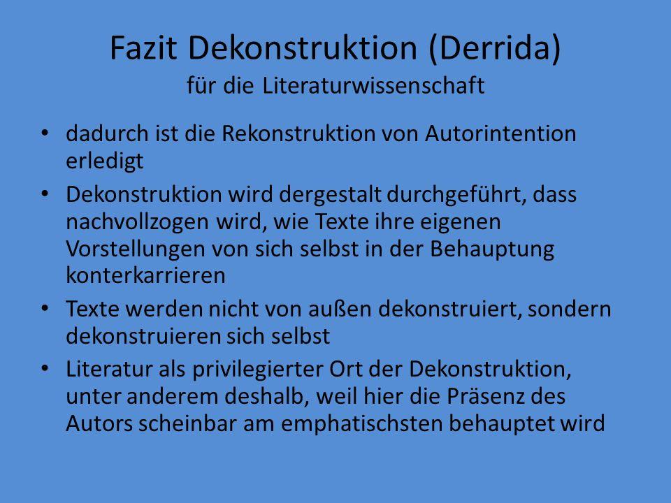 Fazit Dekonstruktion (Derrida) für die Literaturwissenschaft