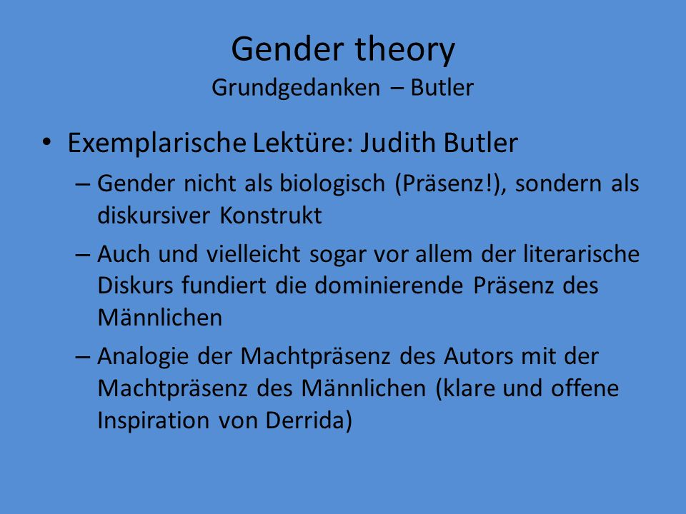 Gender theory Grundgedanken – Butler