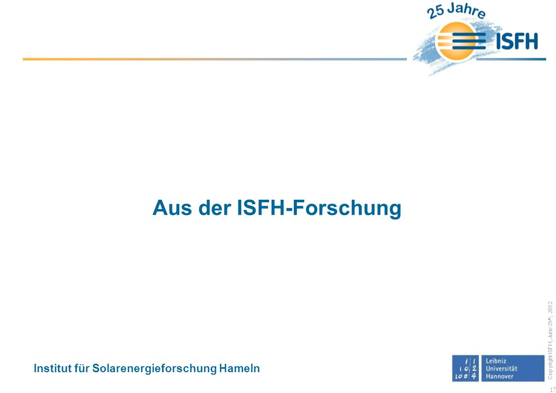 Aus der ISFH-Forschung