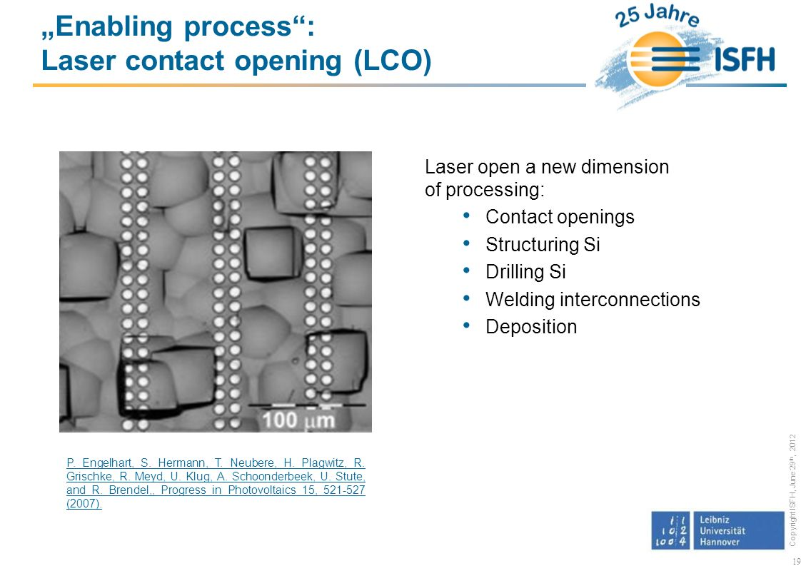 """Enabling process : Laser contact opening (LCO)"