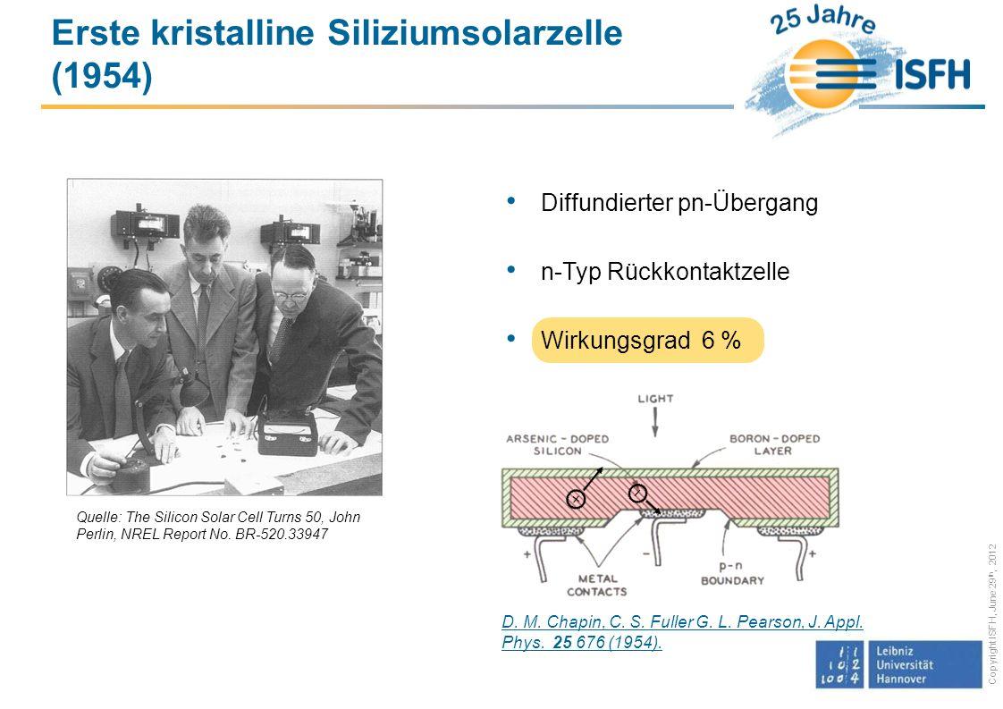 Erste kristalline Siliziumsolarzelle (1954)