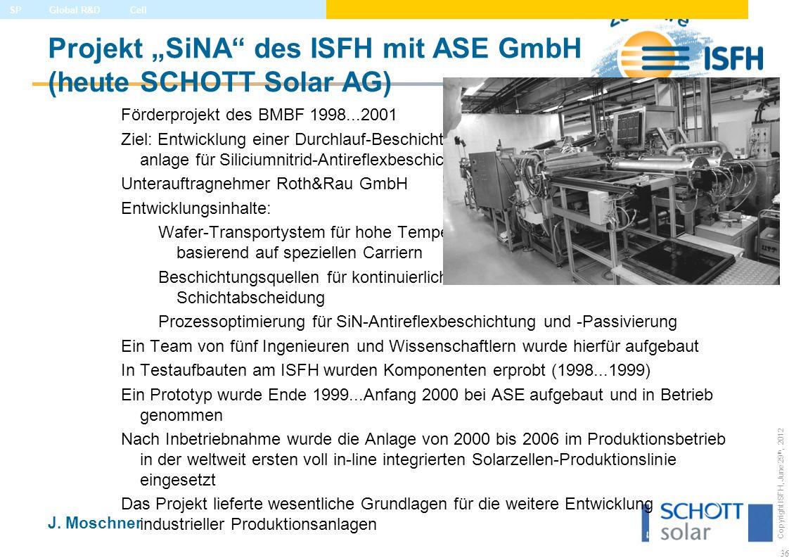 """Projekt """"SiNA des ISFH mit ASE GmbH (heute SCHOTT Solar AG)"""