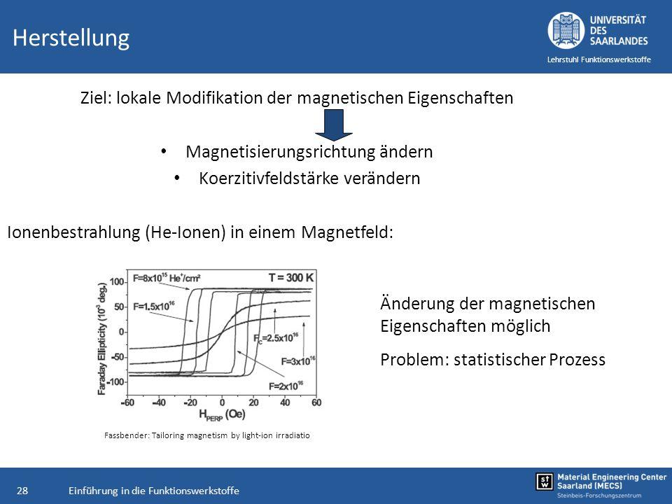 Herstellung Ziel: lokale Modifikation der magnetischen Eigenschaften