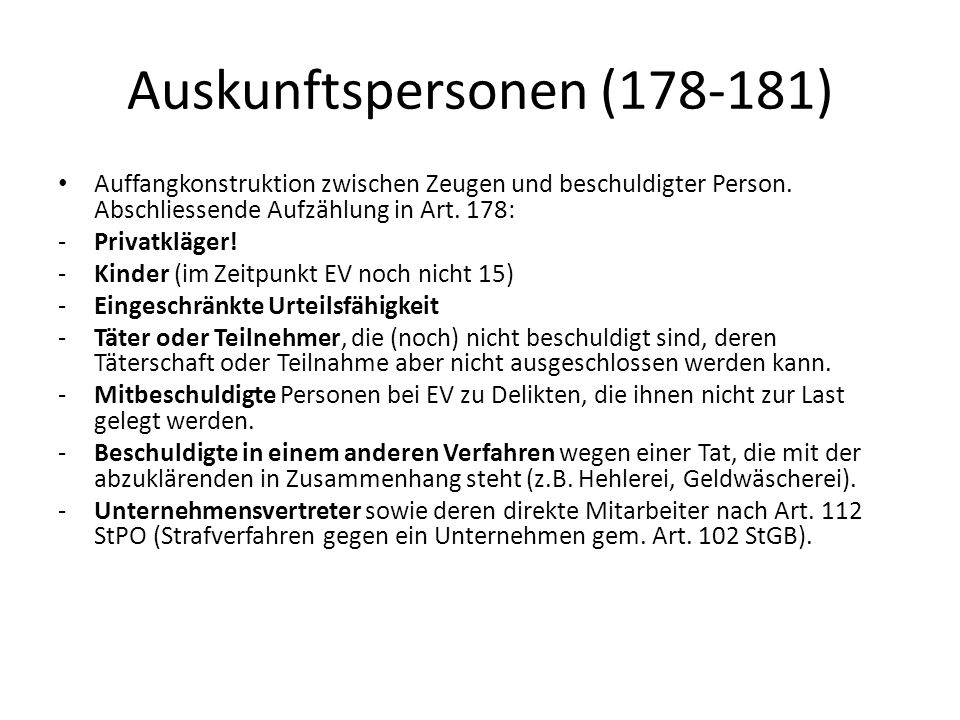 Auskunftspersonen (178-181)