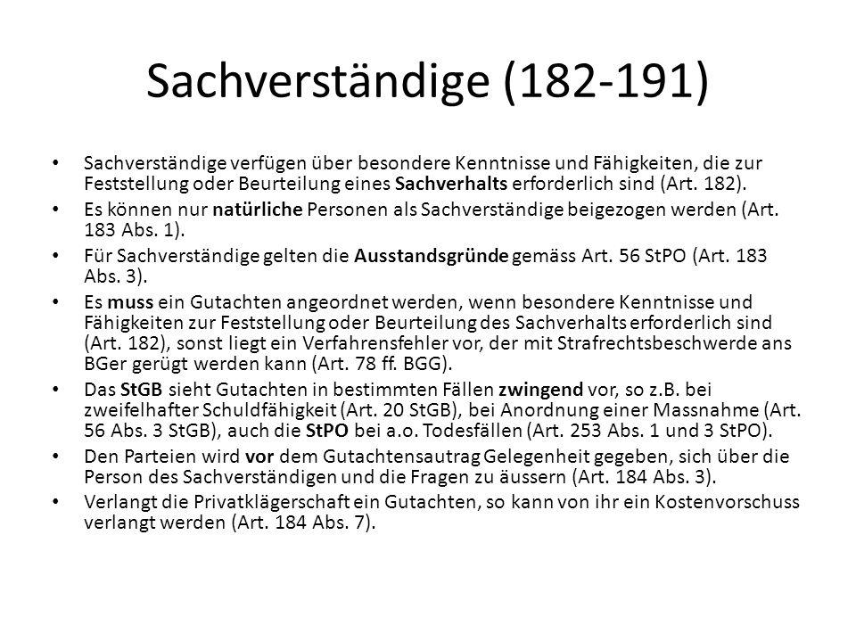 Sachverständige (182-191)