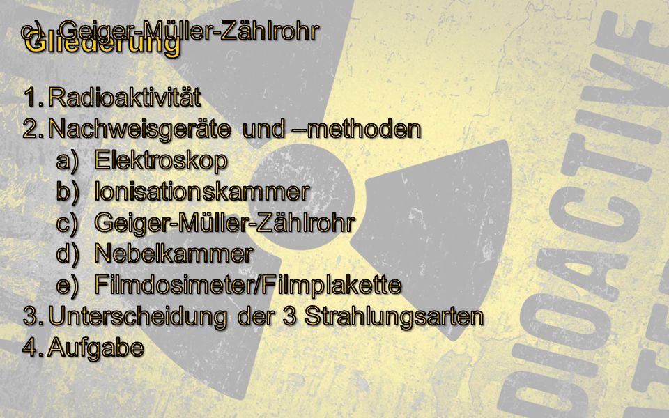 Gliederung Geiger-Müller-Zählrohr Radioaktivität