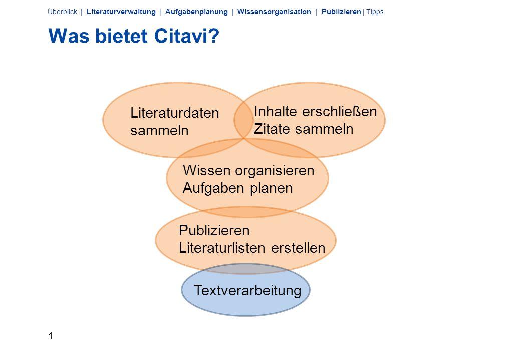 Was bietet Citavi Inhalte erschließen Literaturdaten sammeln