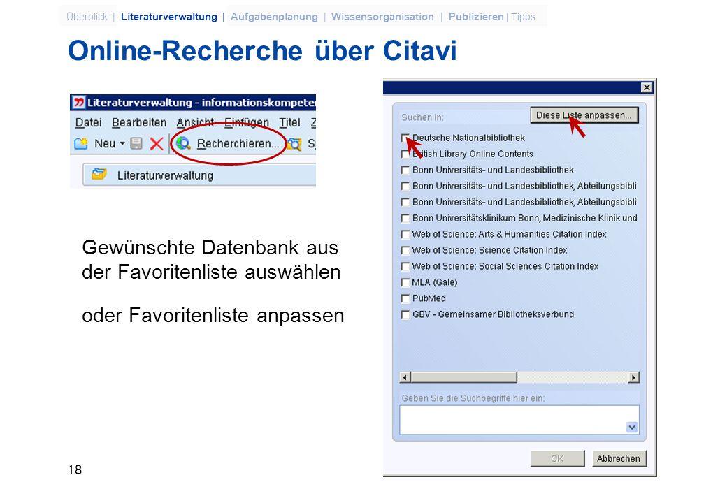 Online-Recherche über Citavi
