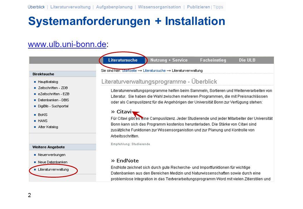 Systemanforderungen + Installation