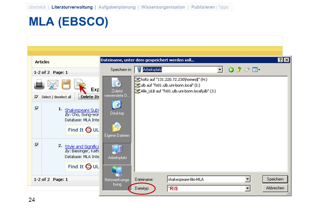 MLA (EBSCO) Export to Bibliographic Manager *RIS