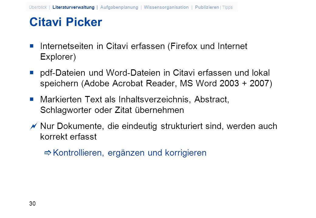Citavi Picker Internetseiten in Citavi erfassen (Firefox und Internet Explorer)
