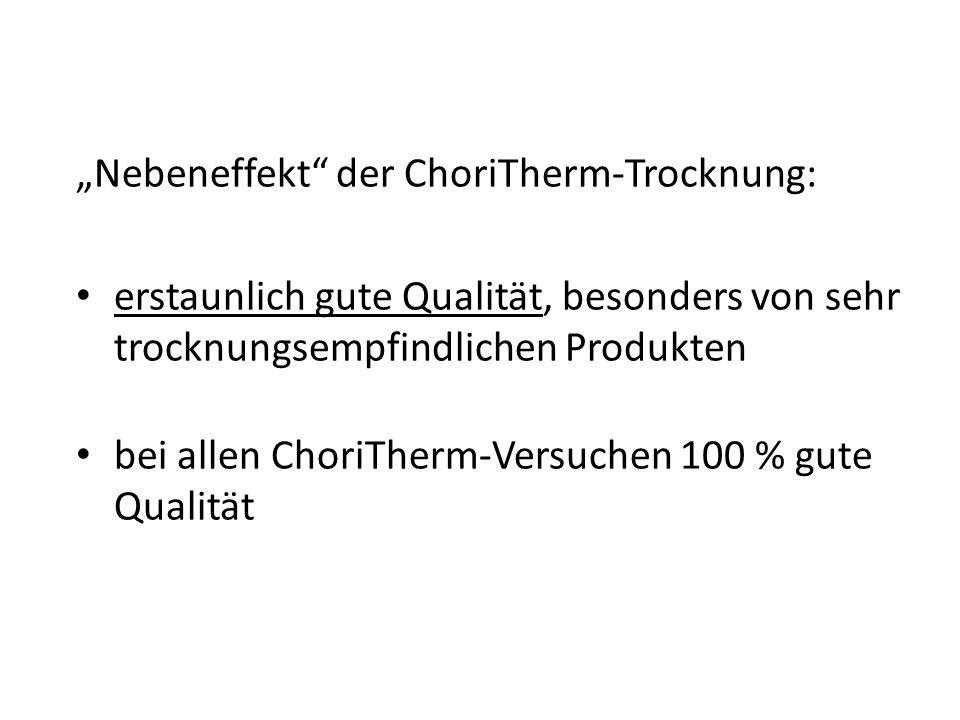 """""""Nebeneffekt der ChoriTherm-Trocknung:"""