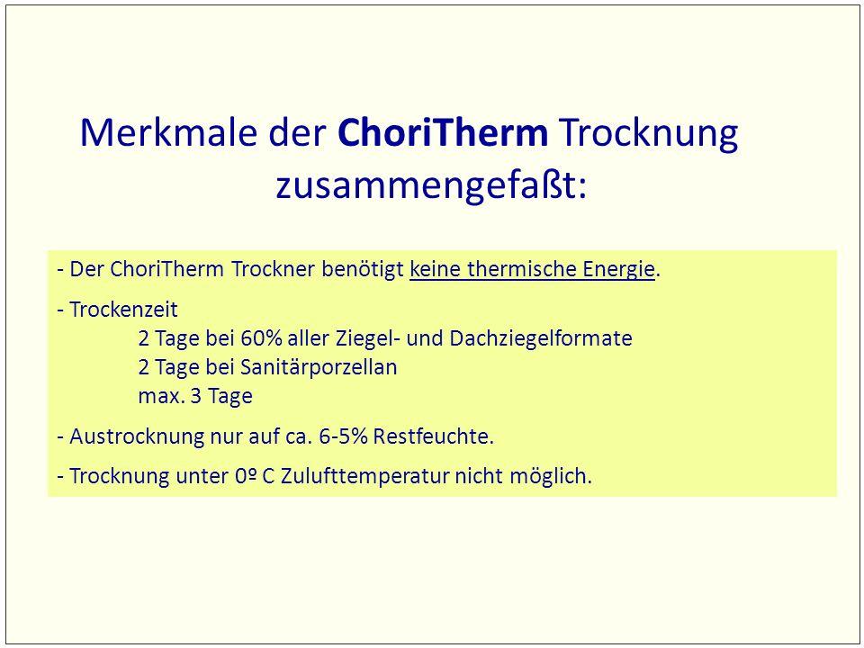 Merkmale der ChoriTherm Trocknung zusammengefaßt: