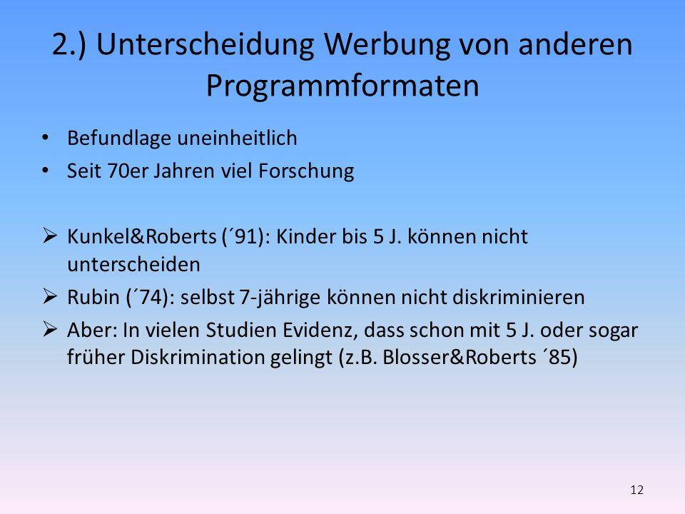 2.) Unterscheidung Werbung von anderen Programmformaten