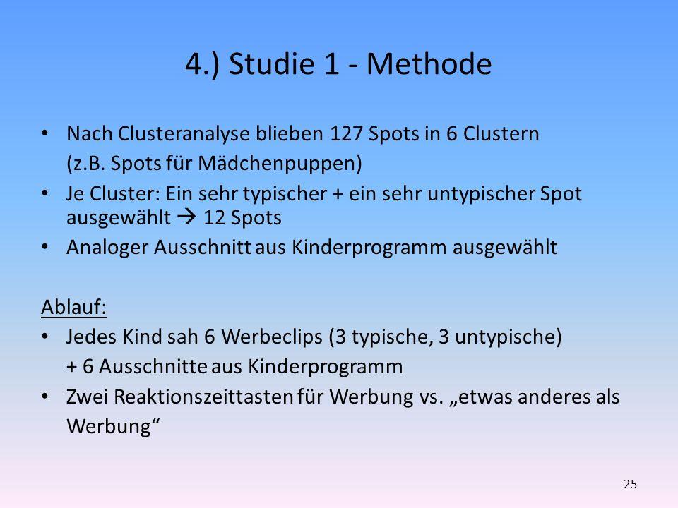 4.) Studie 1 - Methode Nach Clusteranalyse blieben 127 Spots in 6 Clustern. (z.B. Spots für Mädchenpuppen)