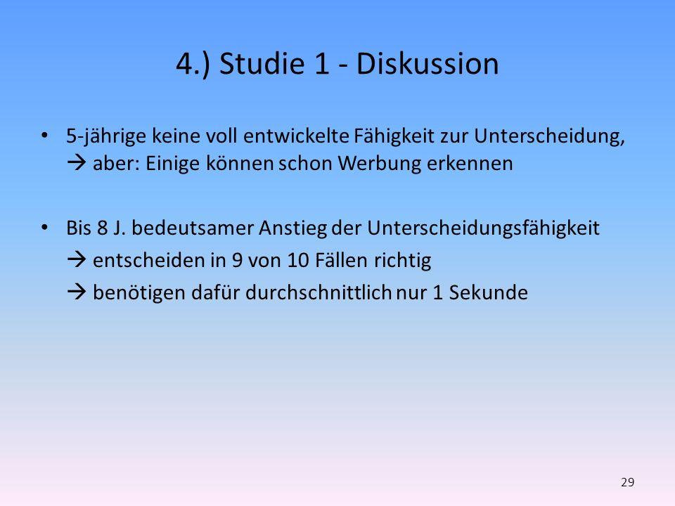 4.) Studie 1 - Diskussion 5-jährige keine voll entwickelte Fähigkeit zur Unterscheidung,  aber: Einige können schon Werbung erkennen.