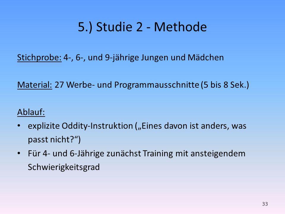 5.) Studie 2 - Methode Stichprobe: 4-, 6-, und 9-jährige Jungen und Mädchen. Material: 27 Werbe- und Programmausschnitte (5 bis 8 Sek.)