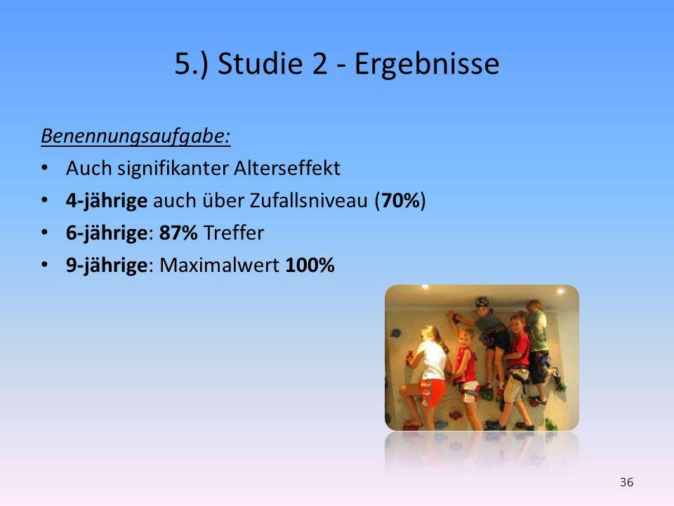 5.) Studie 2 - Ergebnisse Benennungsaufgabe: