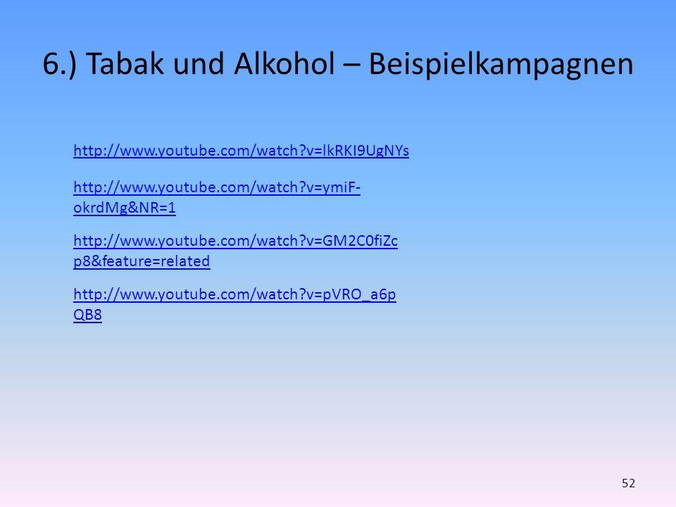 6.) Tabak und Alkohol – Beispielkampagnen