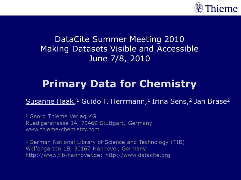 Primary Data for Chemistry