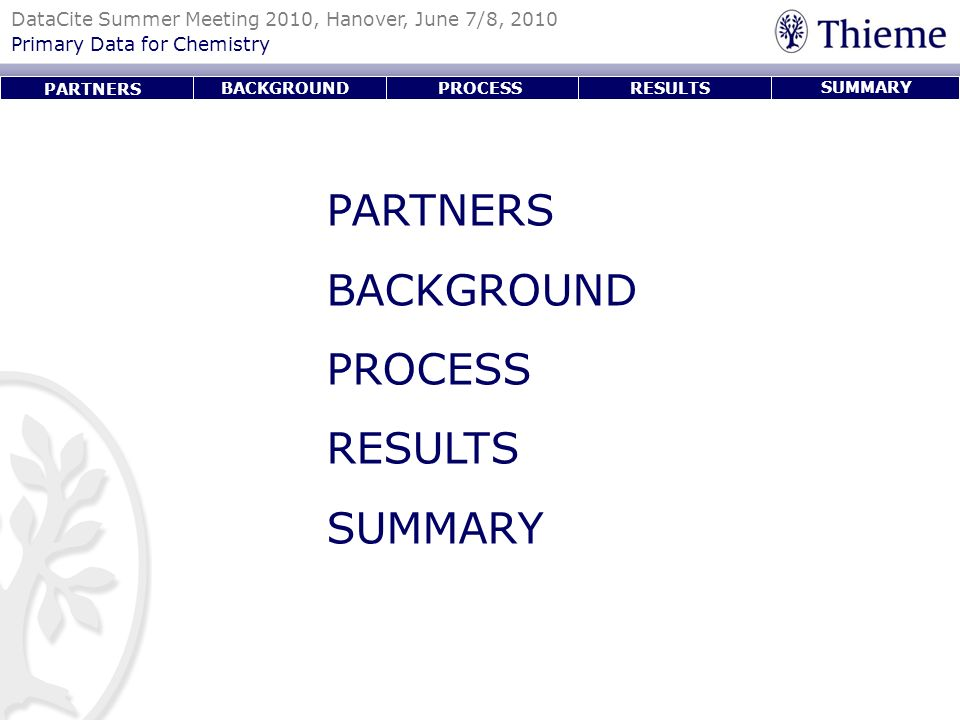 PARTNERS BACKGROUND PROCESS RESULTS SUMMARY PARTNERS BACKGROUND
