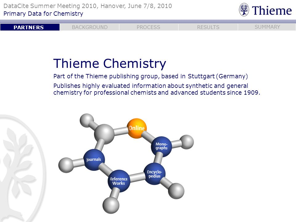 PARTNERS Thieme Chemistry. Part of the Thieme publishing group, based in Stuttgart (Germany)