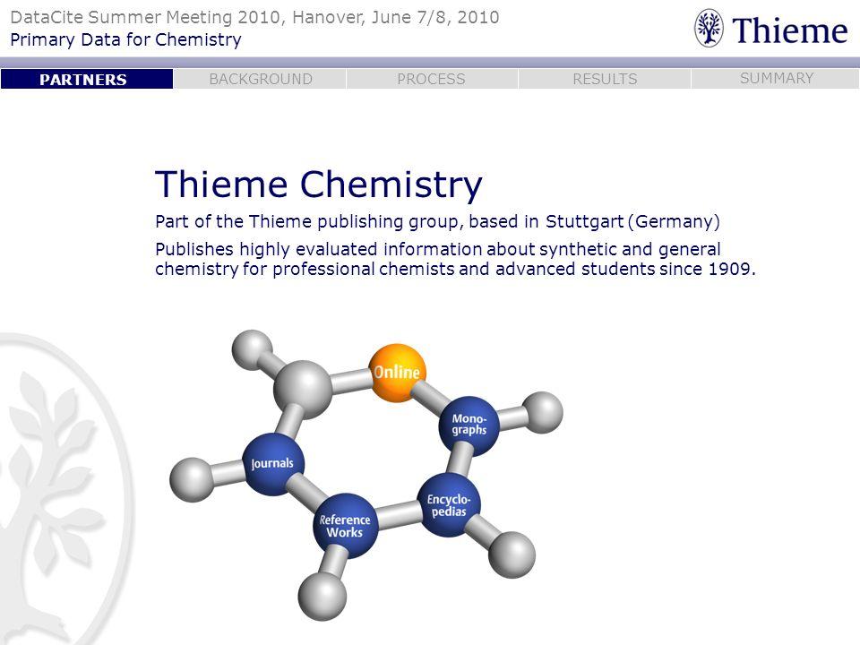 PARTNERSThieme Chemistry. Part of the Thieme publishing group, based in Stuttgart (Germany)